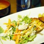 水菜と鶏のささみのサラダ