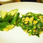 【食】手抜き:ニラと卵の炒め物とキュウリ