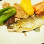 【食】鮎の塩焼き、夜食に茶碗蒸