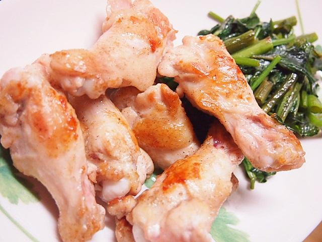 鶏焼いたん 空心菜の炒め物