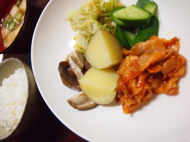 蒸し野菜 ポークチャップ