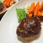 【食】ハンバーグ、水菜とベーコンのスープ