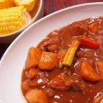 【食】ビーフシチュー、トウモロコシ