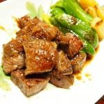 【食】牛肉ソテー、麻婆豆腐、もずく