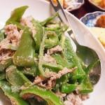 【食】モロヘイヤとろろうどん、肉とピーマンの炒め物