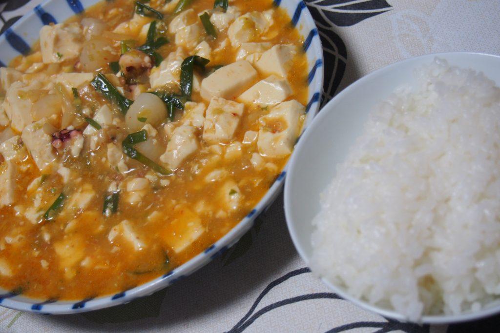 妊娠20週6日 夫が作る麻婆豆腐