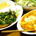 【食】麻婆豆腐と水菜とササミのサラダ