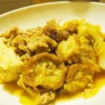 【食】すき焼き風豚肉の煮たの、桃ヨーグルト