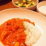 【食】バターチキンカレー、水菜カリカリサラダ