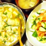 【食】麻婆豆腐、トマトとキュウリと玉ねぎころころサラダ