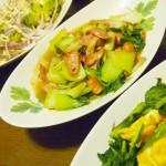 【食】ソーセージとチンゲン菜の炒め物