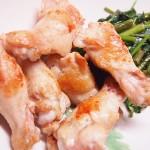 【食】手羽元焼いたん、空心菜の炒め物