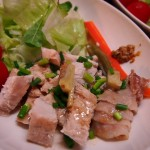【食】蒸し鶏、豚汁