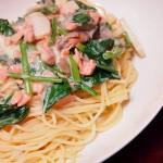 【食】鮭とイカときのこのクリームパスタ