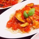 【食】トマトとなすのパスタ、ツナサラダ