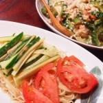 【食】冷やし中華、ゴーヤと水菜のサラダ